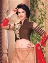 photo of Modernistic Wedding Wear Fancy Fabric Designer Lehenga Choli in Peach Color