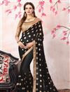 image of Zari Embroidery Work Georgette Black Function Wear Saree