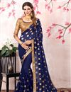 image of Zari Embroidery Work Navy Blue Fancy Saree In Georgette With Lace Border