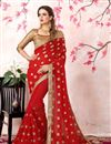 image of Zari Embroidery Work Red Georgette Heavy Saree With Lace Border