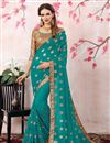 image of Zari Embroidery Work Designer Dark Cyan Saree In Georgette With Lace