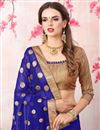 photo of Zari Embroidery Work Blue Georgette Function Wear Saree