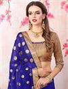 photo of Zari Embroidery Work Blue Georgette Function Wear Saree