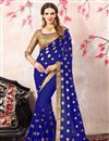 image of Zari Embroidery Work Blue Georgette Function Wear Saree