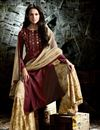 picture of Designer Fancy Fabric Embroidered Palazzo Salwar Kameez In Maroon Color