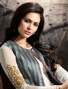 photo of Designer Georgette Fabric Embroidered Long Anarkali Salwar Kameez With Koti In Off White And Grey Color