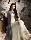 picture of Designer Georgette Fabric Embroidered Long Anarkali Salwar Kameez With Koti In Off White And Grey Color