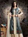 image of Designer Georgette Fabric Embroidered Long Anarkali Salwar Kameez With Koti In Off White And Grey Color