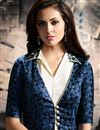 photo of Santoon Fabric Designer Off White And Blue Color Party Wear Embroidered Palazzo Salwar Kameez With Koti