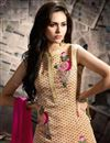 photo of Strikingly Embroidered Beige And Pink Color Silk And Georgette Fabric Designer Sharara Top Lehenga