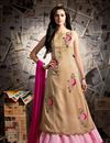 image of Strikingly Embroidered Beige And Pink Color Silk And Georgette Fabric Designer Sharara Top Lehenga