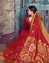 photo of Red Designer Function Wear Saree In Art Silk With Weaving Work