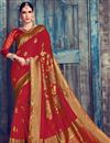 image of Red Designer Function Wear Saree In Art Silk With Weaving Work