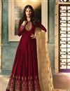 image of Party Wear Embellished Georgette Fancy Maroon Color Long Floor Length Anarkali Suit