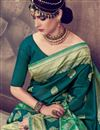 photo of Teal Color Designer Weaving Work Saree In Cotton Silk Fabric