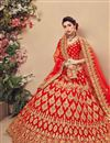 photo of Designer Wedding Function Wear Embroidered Velvet Fabric Red Lehenga