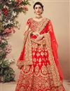 image of Velvet Fabric Embroidered Wedding Function Wear Red Color Lehenga Choli