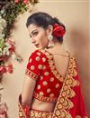 photo of Velvet Fabric Wedding Function Wear Red Fancy Lehenga With Embroidery