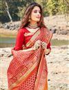 photo of Elegant Red Sangeet Wear Art Silk Weaving Work Saree