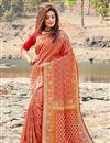 image of Elegant Red Sangeet Wear Art Silk Weaving Work Saree