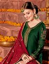 photo of Satin Fabric Dark Green Party Wear Straight Cut Suit With Embroidery Work