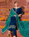 photo of Embroidery Designs On Sky Blue Satin Fabric Function Wear Straight Cut Salwar Suit