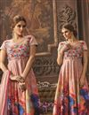 photo of Digital Print Long Length Silk Fabric Anarkali Suit In Peach Color