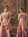 photo of Digital Print Long Length Silk Fabric Anarkali Suit In Peach Color
