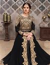 image of Black Georgette Fabric Festive Wear Anarkali Suit With Embroidery Designs