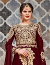 photo of Designer Anarkali Salwar Kameez In Maroon Georgette Fabric With Embroidery Designs