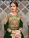 photo of Embroidery Designs On Dark Green Color Georgette Fabric Party Wear Anarkali Salwar Suit