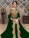 image of Embroidery Designs On Dark Green Color Georgette Fabric Party Wear Anarkali Salwar Suit