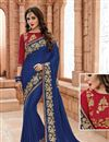 image of Blue Color Occasion Wear Designer Saree In Fancy Fabric With Embroidery Work On Designer Blouse And Border