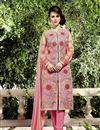 image of Georgette Fabric Designer Salwar Suit In Pink Color With Embroidery