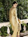 photo of Raw Silk Fabric Designer Salwar Suit In Cream Color With Embroidery