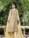 image of Raw Silk Fabric Designer Salwar Suit In Cream Color With Embroidery