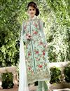 image of Designer Party Wear Georgette Salwar Suit In Sea Green Color