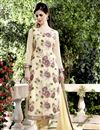 image of Cream Color Designer Georgette Salwar Suit With Embroidery