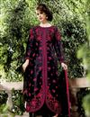 image of Black Color Embroidered Salwar Kameez In Raw Silk Fabric