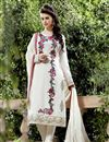 image of Georgette Fabric Designer Salwar Suit In Off White Color With Embroidery