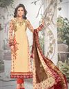 image of Attractive Cream Color Georgette And Satin Salwar Suit