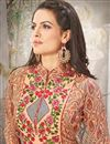 photo of Peach Color Georgette And Satin Designer Salwar Suit