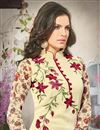 photo of Attractive Cream Color Georgette And Satin Salwar Kameez
