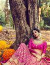 photo of Soothing Bhagalpuri Bridal Wear Lehenga Choli In Pink Color