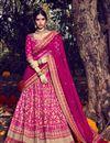 image of Soothing Bhagalpuri Bridal Wear Lehenga Choli In Pink Color