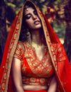 photo of Auspicious Orange Color Bridal Wear Lehenga Choli In Silk Fabric