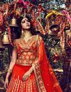 picture of Auspicious Orange Color Bridal Wear Lehenga Choli In Silk Fabric