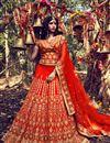 image of Auspicious Orange Color Bridal Wear Lehenga Choli In Silk Fabric