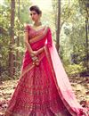 image of Auspicious Pink Color Bridal Wear Lehenga Choli In Silk Fabric