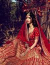 photo of Red Color Bhagalpuri Bridal Lehenga Choli With Stylish Embroidery Designs